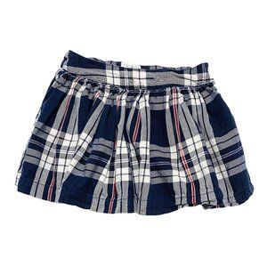 Blue Plaid Cotton Short Pleated Skirt